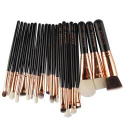 20 Pcs Goat Hair Facial Makeup Brushes Set - BLACK
