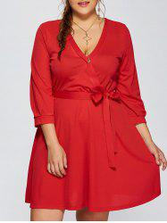 Plus Size Wrap Dress With Bowknot -