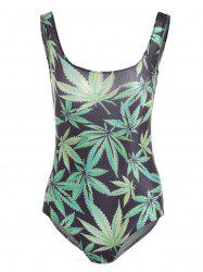 U Neck Leaves Print One-Piece Swimwear