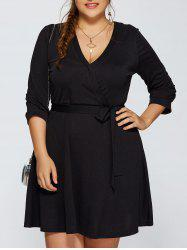 Plus Size Wrap Dress With Bowknot