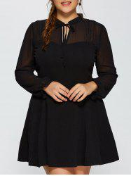 Plus Size Mesh Yarn Insert Long Sleeve Skater Dress - BLACK 3XL