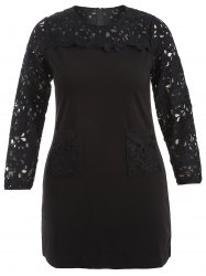 Plus Size Lace Insert Dress With Pockets