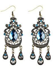 Faux Crystal Filigree Chandelier Earrings -