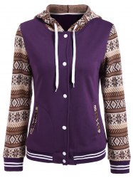 Tribal Print Panel Button Up Hoodie