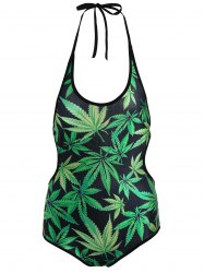 Halter Leaves Print One-Piece Swimwear
