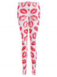 Lip Print Bodycon Leggings - PINK