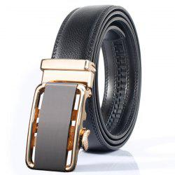 Stylish Rounded Rectangle Automatic Buckle Wide Belt - GOLDEN