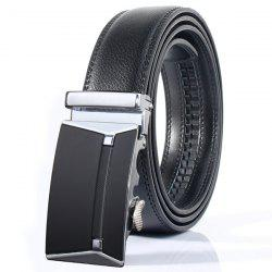 Stylish Polished Rectangle Automatic Buckle Wide Belt - SILVER