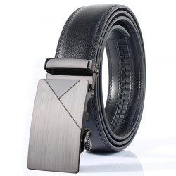 Polished Geometric Automatic Buckle Wide Belt