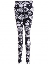 Skull Print Stretchy Leggings - BLACK
