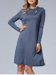 Long Sleeve A Line Casual Dress - BLUE