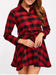 Buttoned Plaid Flannel Shirt Dress - RED S
