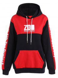 Colo Block Drawstring Letter Hoodie -