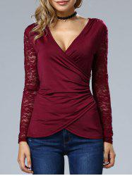 Sleeve Lace Wrap Top