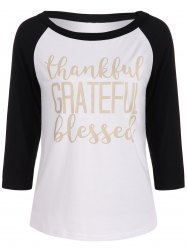 Thankful Print Raglan Sleeve Baseball Tee Shirts Funny Graphic Tees