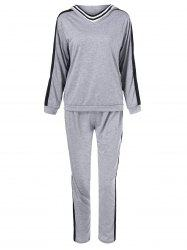 Loose Hoodie With Pants Sport Suit