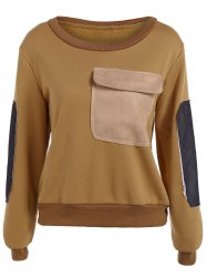Contrast Pocket Embellished Sweatshirt