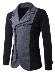 Turndown Collar Zipper Design Color Block Spliced Jacket - DEEP GRAY