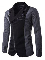Turndown Collar Zipper Design Color Block Spliced Jacket