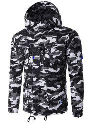 Hooded Camouflage Multi Pockets Jacket - BLACK