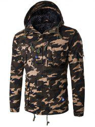 Hooded Camouflage Multi Pockets Jacket
