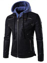 Faux Twinset Hooded Zipper Design PU Leather Jacket -