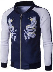 Pied de col Zip Up dragon Imprimer Raglan Sleeve Jacket - Bleu