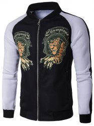 Stand Collar Zip Up Tiger Print Raglan Sleeve Jacket - BLACK