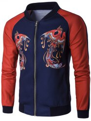 Stand Collar Zip Up Phoenix Print Raglan Sleeve Jacket