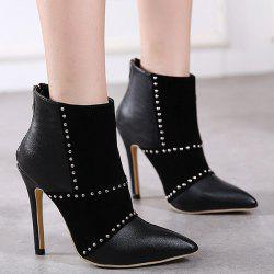 Rivet Suede Spliced Stiletto Heel Boots - BLACK