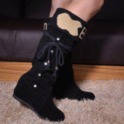 Knit Panel Rhinestone Mid Calf Boots