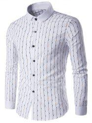 Turndown Collar Vetical Wave Line Print Long Sleeve Shirt -