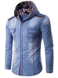 Hooded Color Block Spliced Long Sleeve Denim Shirt - LIGHT BLUE 3XL