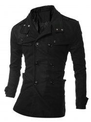 Turndown Collar Epaulet Embellished Double Breasted Woolen Coat - BLACK