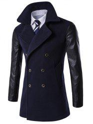 Turndown Collar Double Breasted PU-Leather Spliced Coat - CADETBLUE