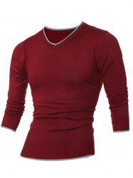 V Neck Selvedge Embellished Knitting Sweater
