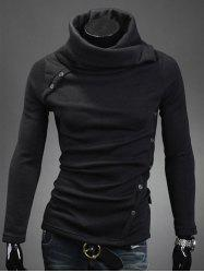 Oblique Buttons Embellished Turtle Neck Long Sleeve Sweater - BLACK