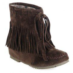 Increased Internal Ankle Boots - DEEP BROWN 39