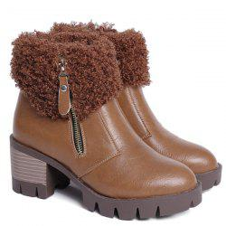 Side Zip Faux Fur Chunky Heel Ankle Boots