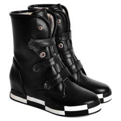 PU Leather Increased Internal Ankle Boots - BLACK