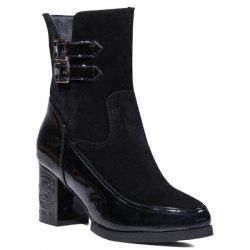 Side Zip Chunky Heel Buckle Ankle Boots - BLACK 39