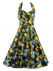Vintage Printed Floral Halter Dress