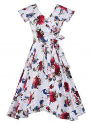 Vintage Printed Belted Midi Dress - WHITE
