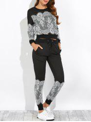Lace Insert Sweatshirt with Jogger Pants