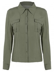 Button Up Epaulet Shirt with Pocket -
