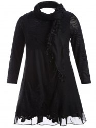 Scarf Lace Splicing Plus Size Dress