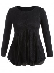 Plus Size Flocking Pleated Full Sleeve Skater Dress - BLACK 4XL