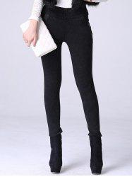High Waisted Denim Fleece Cigarette Pants - BLACK