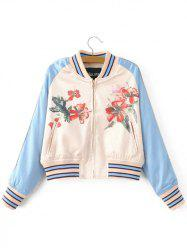 Flower Print Baseball Jacket