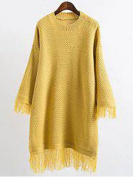 Long Sleeve Mini Slouchy Jumper Dress with Fringe